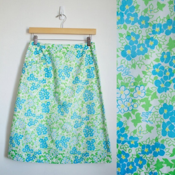 2873848c4 Lilly Pulitzer Skirts | Vintage 70s Green Floral Skirt | Poshmark